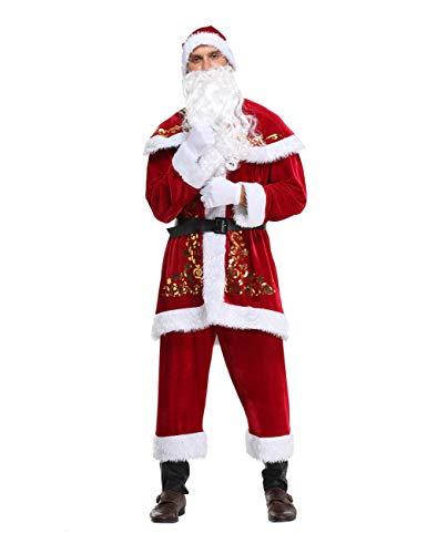 Feynman Weihnachtsmann Kostüm Santa Claus Kostüm Nicolaus Costume Weihnachten Anzug Uniform, XXXL