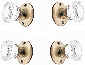 Rousso's Reproductions Two Sets Crystal Glass French Door Knob Sets. Includes Self-Centering Spindle and All Hardware to Install Knobs on Both Sides of Two French Doors (Antique Brass)