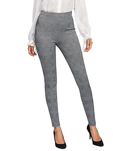 SweatyRocks Women's Casual Plaid Leggings Stretchy Work Pants Grey #2 L