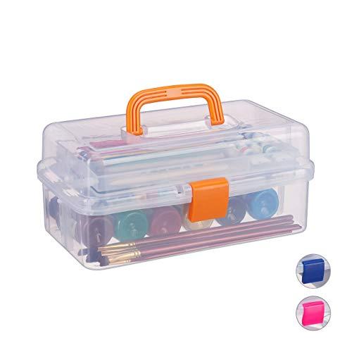 Relaxdays transparante plastic doos, 9 vakken, gereedschapskist, naaikastje, gereedschapskoffer, gereedschap, HBT 14x33x19 cm, oranje
