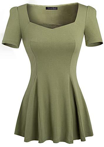 HOMEYEE Women's Vintage Square Neck Long Sleeve Peplum Tops Blouse 542 (S, Army Green-Short Sleeve)