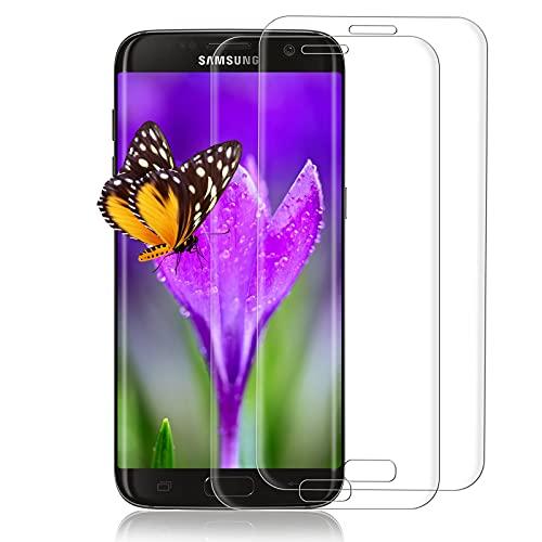 [2 Stück] Panzerglas Schutzfolie für Samsung Galaxy S7 Edge, HD-Schutzfolie, Anti-Kratzen Glasfolie, 9H Härte, 3D Voller Bildschutzfolie, HD Displayschutzfolie für Samsung Galaxy S7 Edge (Transparent)
