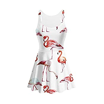 YX GIRL 2019 Mini Dress Lisa Frank Women's Sleeveless Casual Sundress Bodycon Tank Midi Dress  BXQ-White