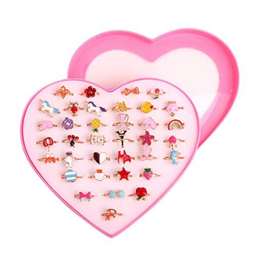 ZoneYan Kinderringe Mädchen, Kinder Ringe Set, 36 Stück Einstellbare Ringe funkeln mit Herzform Vitrine, Verstellbare Bunte Fingerringe Prinzessin Schmuck...