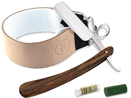 Rasiermesser Set mit Paste aus Solingen und Profi Streichriemen und Holzgriff Rasiermesser 5/8 Zoll von InstrumenteNrw mit Sitz in Deutschland