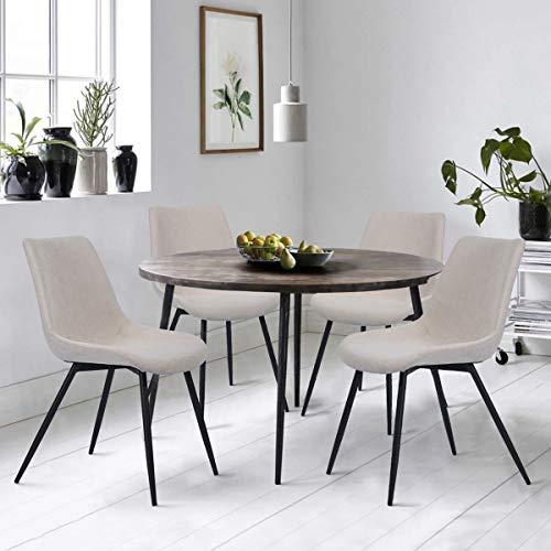 Furnish1 Juego de 4 sillas Comedor Cocina Asiento de Tela Pies metálicos Pintados en Negro para la Sala de Estar de la Oficina en el hogar - Beige