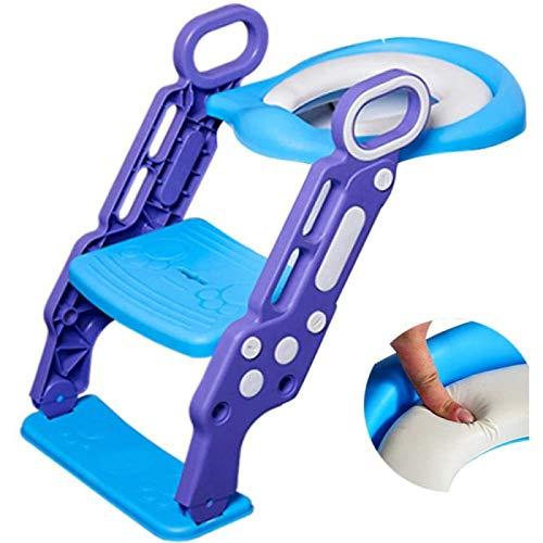 ZHANG Entrenador de Inodoro con Escalera Asiento de Inodoro Ajustable Escalera de Paso con Taburete de Inodoro Orinal para Niños Taburete para Niños Pequeños