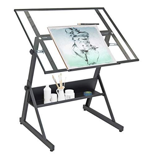 Studio Designs 13346 Solano Adjustable Height Drafting Table, Charcoal/Clear Glass