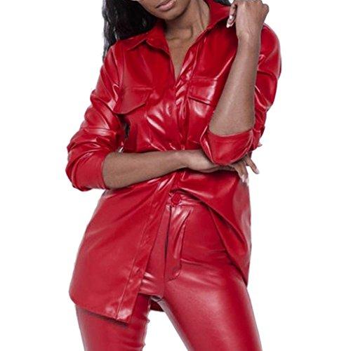 Longra Damen Wetlook-Shirt Langarmshirt Leder-Optik Lederlook Hemd Bluse Damen Vintage Bluse Slim Fit & Wet-Look Racerback Ledertop Clubwear Oberteile Steampunk Trendiges Design Mantel (s, Rot)