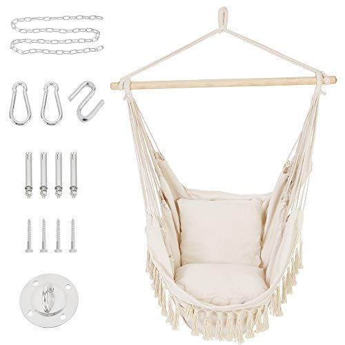 Patio Watcher Oversized Hammock Chair Hanging Rope Swing Seat with 2 Cushions and Hardware Kits, Perfect for Indoor, Outdoor, Home, Bedroom, Patio, Yard,Deck, Garden, Max 330 Lbs, Beige