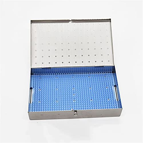 ANYURAN Surgical Instrument Sterilization Box,Dental Instrument Cassette Stainless Instrument Tray and Mesh with Silicone pad Perforated Basket Sterilization Tray,25.2x15.3x4.8cm