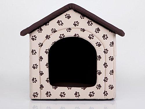 HobbyDog Hundehütte Hundebett Tierbett Katzenbett Beige mit Pfoten
