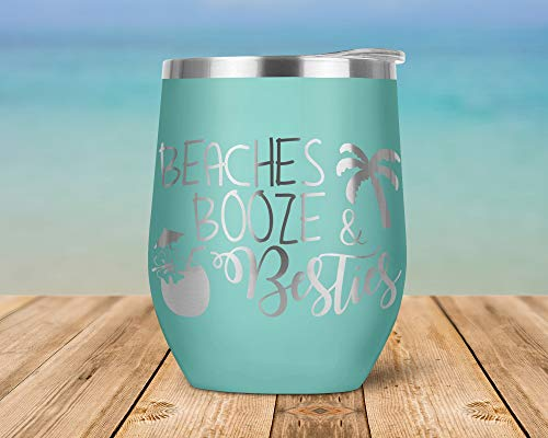 wine cup for beaches Beaches, Booze, and Besties Engraved Vacuum Insulated Stemless Wine Glass Tumbler with Lid Travel Mug WT0002
