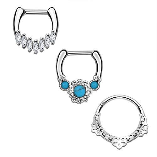 CM Crareesi Mania 3PCS Septum Clicker Rings Hoop Pack Nose Rings 316L Stainless Steel Daith Piercings Earrings 316L Stainless Steel Cartilage Earrings