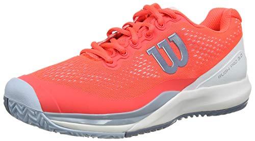 Wilson Rush Pro 3.0 W, Zapatilla de Tenis, para Todo Tipo de Superficies, tenistas de Cualquier Nivel para Mujer, Rojo/Blanco/Azul, número 37 EU