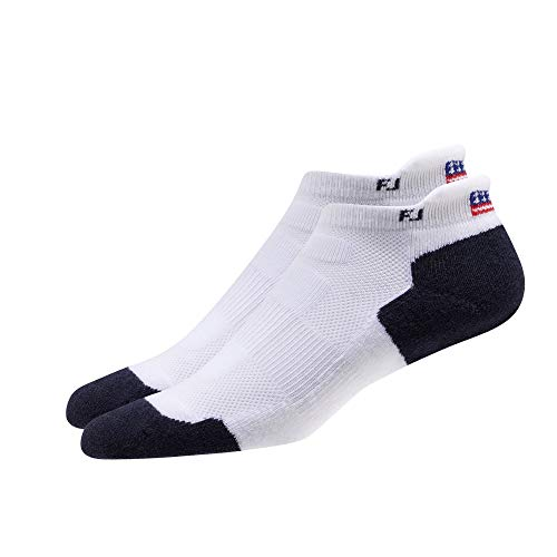 FootJoy TechSof Tour Patriotic Roll Tab Women Socks, White / Navy, Fits Shoe Size 6-9