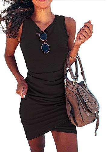 CORAFRITZ Minivestido de verano para mujer, color sólido,...