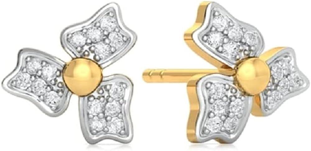 1 6 CT New sales Round Limited price sale Cubic Zirconia Flower Three Earrings 14k Petal Stud