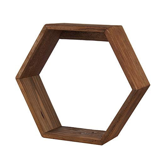 L'Oca Nera 1J130 Estante hexagonal de madera reciclada 51,5x17x45h