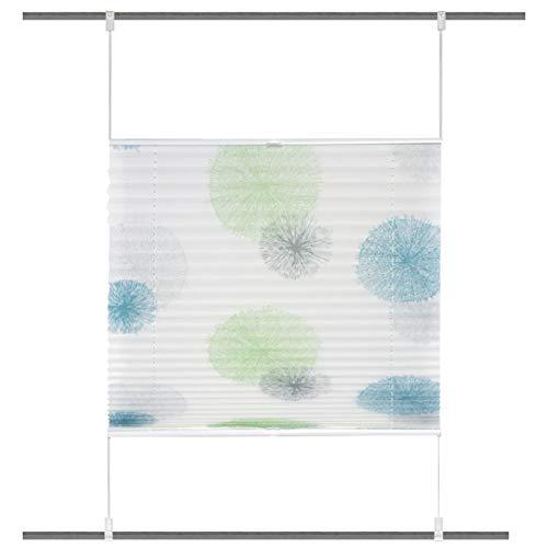 HOME WOHNIDEEN Plisseerollo Rawlins digital Bedruckt mit Up & Down Technik weiß blau grün 60x130cm