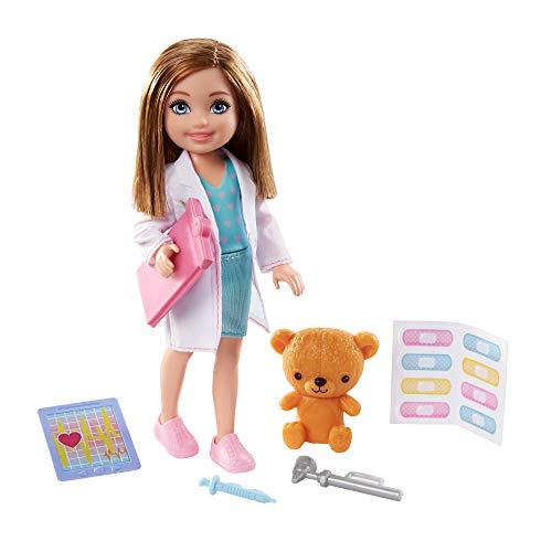 Barbie Playset con Bambola Bruna di Chelsea Dottoressa e Tanti Accessori, Giocattolo per Bambini 3+Anni,GTN88
