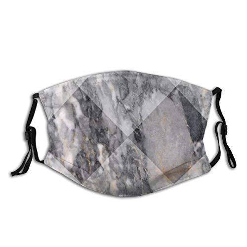 YUDILINSA Gesichtsbedeckung,Geometrische rautenförmige Grunge Granitfelsen Facette bildet Keramik abstrakt,Winddicht Staubschutz Mund Bandanas Outdoor Neck Gamasche Mit 2 Filtern