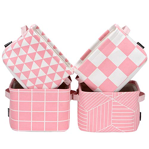Sea Team Foldable Mini Square New Pink and White Geometric Theme 100 Natural Linen Cotton Fabric Storage Bins Storage Baskets Organizers for Shelves Desks - Set of 4 Pink