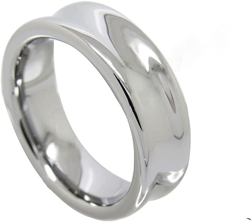 Mens Womens Fashion Concave 7mm Tungsten Carbide Finger Ring Couple Wedding Engagement Promise Band