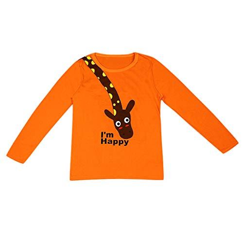 YWLINK NiñOs Y NiñAs OtoñO E Invierno Camiseta De Manga Larga Dibujos Animados Letra JirafaTops Arriba Sudadera Pullover Pijamas Camisa De Fondo Cardigan Jersey Moda Casual (Naranja,4-5 años/120)