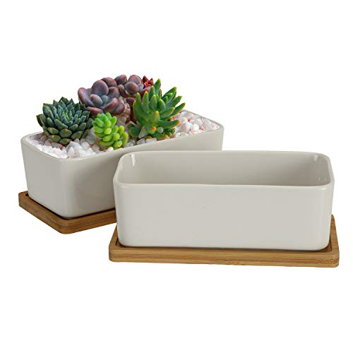 Jucoan 2 Set 6.5 Inches Rectangle Succulent Planter Pot with Bamboo Tray, White Ceramic Flower Pot for Table Desk Window Sill Decoration