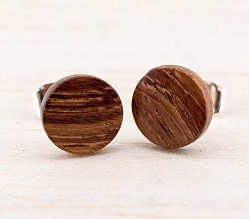 Braune Holz Ohrstecker Ø8mm Kleine Holz Ohrringe hölzerne Mini Ohrringe kleine runde Holz ohrstecker individualisierbar wood earrings wooden studs Damen Männer Ohrstecker Holzschmuck Unisex