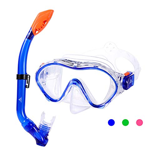 SKL Kids Snorkel Set,Dry Top Snorkel Mask with Big Eyes for Boys,...