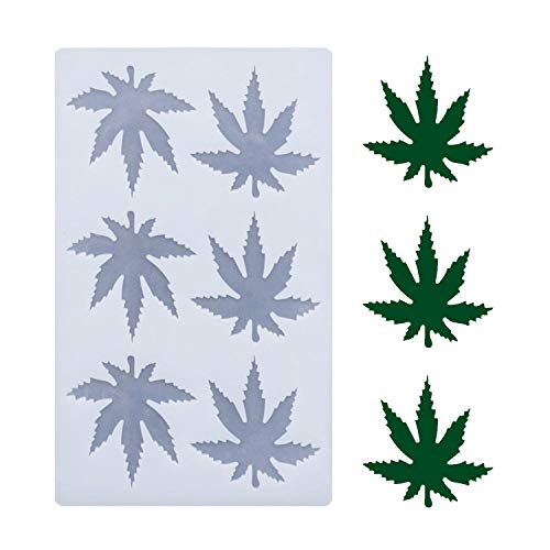 (THIN and SHALLOW) Marijuana Leaf Embossed Fondant Maple Silicone Mold for Chocolate Candy Gum Paste Polymer Clay Resin Kitchen Baking Sugar Craft Cake Cupcake Decorating Tools