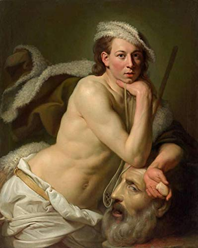 Davi com a Cabeça de Golias (1756) de Johan Zoffany - 75x93 - Tela Canvas Para Quadro
