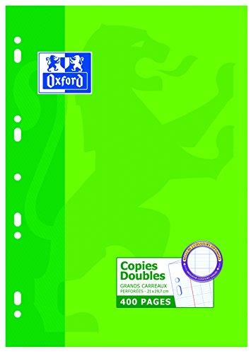 Oxford Scolaire Feuilles doubles A4 grands carreaux 400 pages Blanc 100105671 A4 (21 x 29,7 cm)