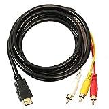 FeelMeet HDMI a RCA 3 Cable HDMI al Adaptador del convertidor del RCA Cordón de conexión del transmisor Especial de una vía de transmisión de HDMI a RCA 1.5m