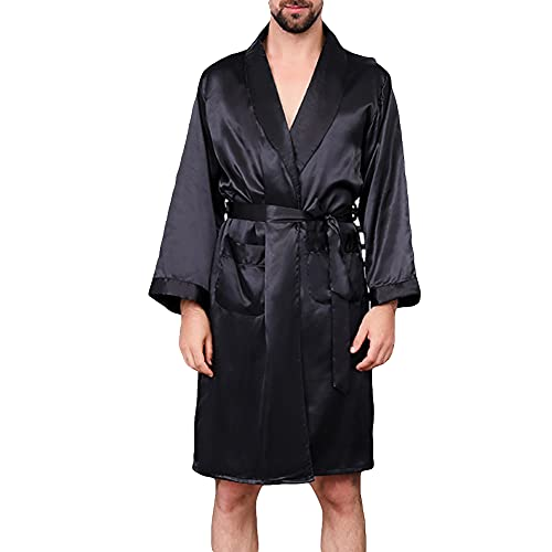 YOUCAI Hombres S Camisón Verano Pijamas Delgadas Casa Ropa De Dormir De Manga Larga Negro Kimono De Raso De Los Estilo Largo Ligero De La Luz,Negro,7XL