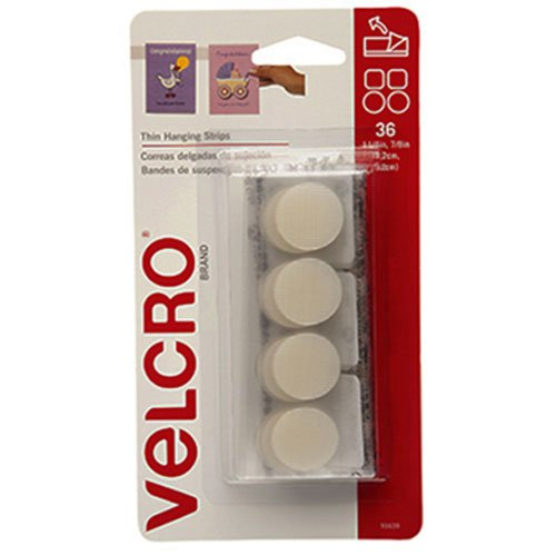 """VELCRO Brand - Thin Hanging Strips: Adhesive That removes Cleanly - 7/8"""" Coins / 1.25"""" Squares, 36 Sets, 1/4 lb - White"""