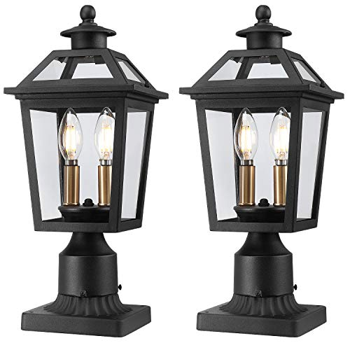 Beionxii Outdoor Post Lights | Exterior Post Lantern Pillar Light with 3-inch Pier Mount Adapter, Sand Textured Black with Clear Glass - A329P-2PK