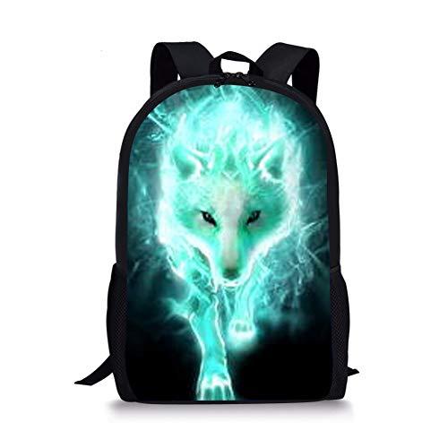 Leuke hond print rugzak voor kinderen jongens meisjes tieners cool school boek tas, Teal Wolf-c (multi) – LXB-CGK-09-CA…
