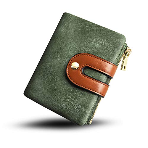 Women's RFID Bifold Leather Small Wallet Ladies Mini Purse with Coin Pocket,Soft Compact Thin Wallet (green)