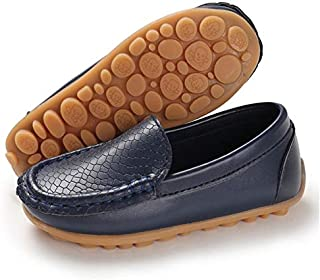 BENHERO Kids Boys Girls Loafers Slip on Soft Synthetic Leather Boat Dress School Shoes Flat(Toddler/Little Kid)