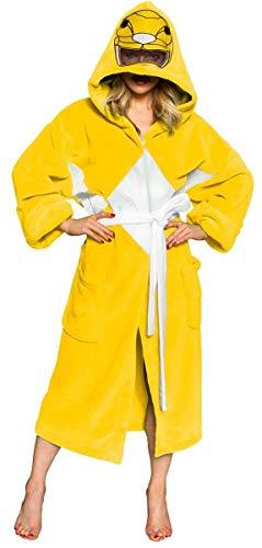Power Rangers Men's Mighty Morphin Robe, Yellow, One Size