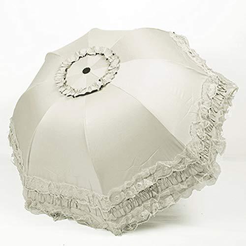 yui Es duradero sombrilla de encaje para mujer, lluvia, protección UV, resistente al viento, impermeable, 3 paraguas plegable para niña, princesa, sol, luz ultravioleta (color beige claro)