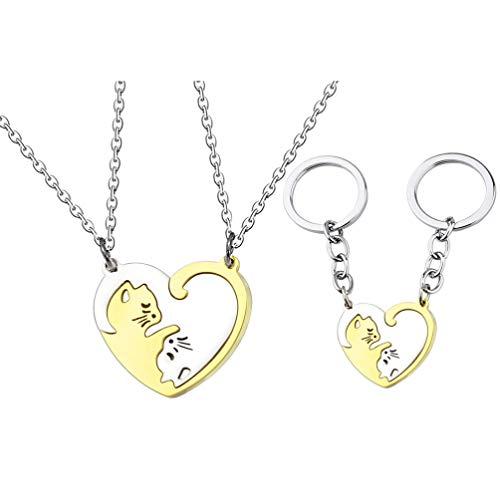 SOIMISS 4 peças presente de dia dos namorados, chaveiro e colar de aço inoxidável com pingente para casais, Assorted Color 2, 2.8×2.8cm