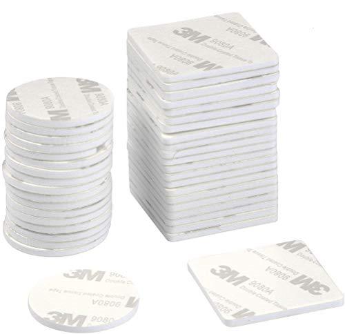 TIMESETL 150Stück Klebepads doppelseitiges Klebeband Schaumstoff EVA Quadrat (4cmx4cmx2,5mm) und Rund (3,5cmx3,5cmx2,5mm) Schaumband mit besonders starke Klebkraft - Weiß
