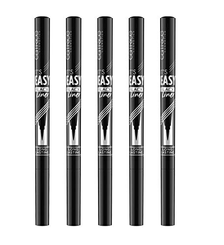 Catrice It's Easy Tattoo Liner Waterproof, Eyeliner, Eye Liner, Nr. 010 Black Lifeproof, schwarz, definierend, langanhaltend, matt, wasserfest, vegan, ohne Parfüm, 5er Pack (5 x 1,1ml)