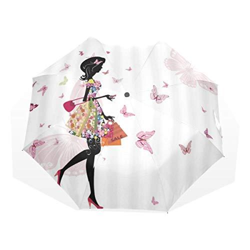 LASINSU Mini Ombrello Portatile Pieghevoli Ombrello Tascabile,Stampa artistica di primavera decorativo fiore farfalla fata ragazza,Antivento Leggero Ombrello per Donna