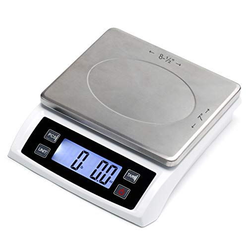 110 lb (50 kg) Digital Postal Scale, Piece Counting, Wide Stainless Steel Pan, AC Adapter, Backlit LCD, Multiple Weight Unit, Capacity: Max 50 kg (110 lb), MIN 5 g (0.2 oz), Readability 1 g (0.1 oz)
