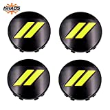 Khaos Motorsports Hub Center Cap OEM Color Matched Compatible with Dodge Challenger/Charger (Yellow Jacket PY4 / Gloss Black)
